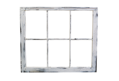 fading: Vintage wooden window with fading white paint isolated on white background.
