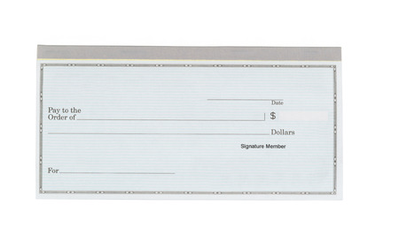 Close up of blank checkbook isolated on white background.