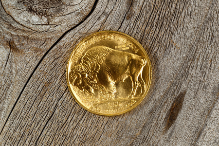 reverse: Reverse side of American Gold Buffalo coin fine gold on rustic wood.
