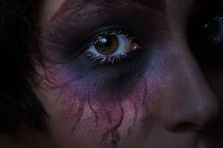evil girl: Close up of a scary eye from teenage girl