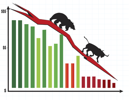 Colorful bar chart showing bear chasing bull down the graph. Stock market crash concept. Vector illustration format. Saved in illustrator 10.