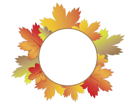 illustrator 10: Blank white circle surrounded by colorful autumn leaves. Autumn concept. Vector illustration format. Saved in illustrator 10. Illustration