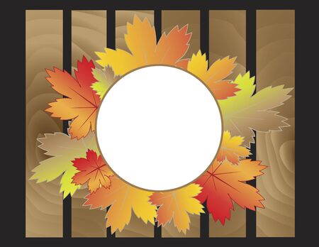 illustrator 10: Blank white circle surrounded by colorful autumn leaves with wooden boards underneath. Autumn concept. Vector illustration format. Saved in illustrator 10.