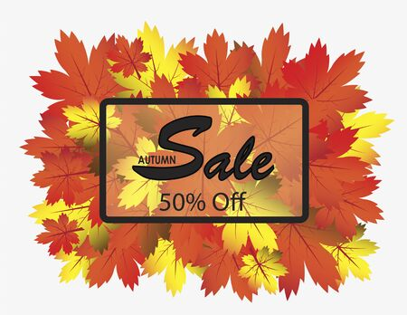 illustrator 10: Border box with Autumn Sales text inside surrounded by colorful autumn leaves on white background. Autumn concept. Vector illustration format. Saved in illustrator 10.