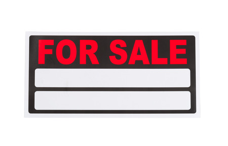 sale sign: New for sale sign, ready for use, isolated on white