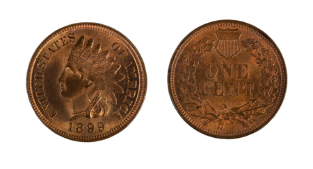 cents: High quality American Indian Head cents, front and back, isolated on white background. Issued by United States mint.