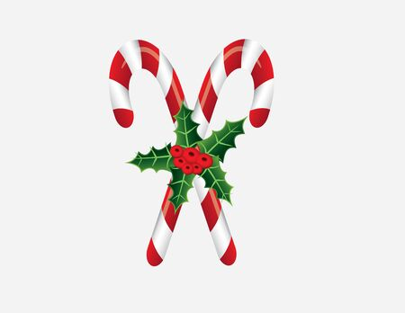 Christmas candy canes and holly leaf with red berries on white background. Vector illustration format. Saved in illustrator version 10.