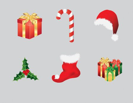 decoration: Christmas items consisting of Santa hat, candy cane, presents, stocking and green holly leaf with berries. Vector illustration format. Saved in illustrator version 10. Illustration