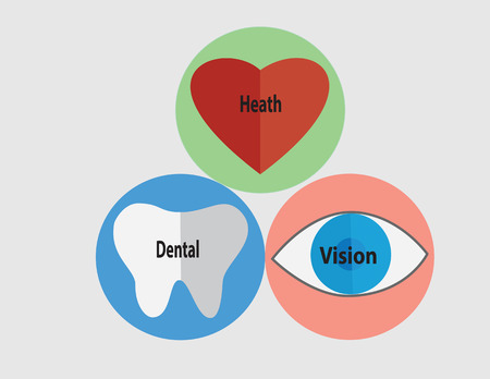 health icons: Icons of tooth, eye, and heart with text.  Vector illustration format. Saved in illustrator version 10. Healthcare concept. Illustration
