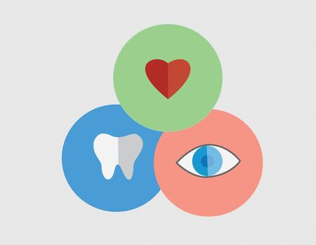 Icons of tooth, eye, and heart.  Vector illustration format. Saved in illustrator version 10. Healthcare concept.