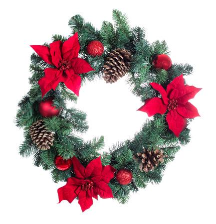 Poinsettia flower Christmas wreath isolated on white background. Archivio Fotografico