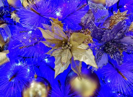 gold ornaments: Close up of gold colored poinsettia hanging in white Christmas tree with several other ornaments on blue background. Selective focus in center of flower in filled framed Stock Photo
