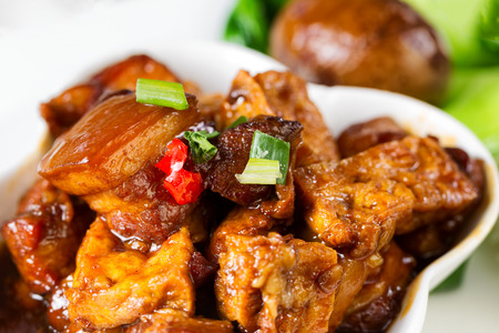 meat sauce: Close up of a front view of Asian dish with tofu and sliced meat, soy sauce egg, garnishes and bok choy. Selective focus on red and green peppers in front.