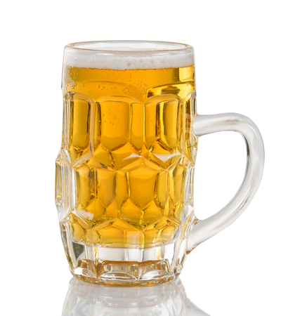 stein: Golden colored beer in glass stein. Isolated on white with reflection.