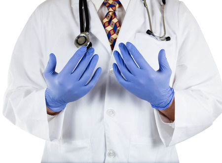 latex gloves: Close up front view of doctor with blue latex gloves on hands Stock Photo