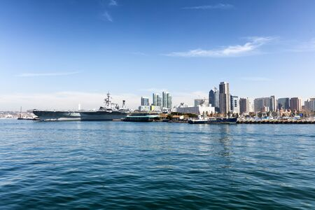 san: Ocean view of the skyline of San Diego, California during a bright day. Stock Photo