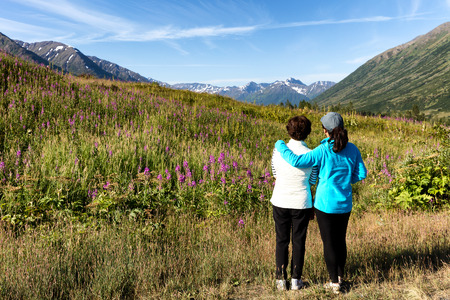 Mother and daughter, backs to camera, looking at wild flowers in field with mountains and sky in background. Selective focus on people. Stock Photo