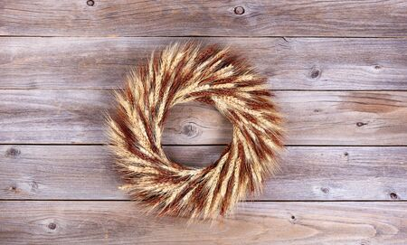 stalk: Real dried wheat stalk wreath on rustic wooden boards.