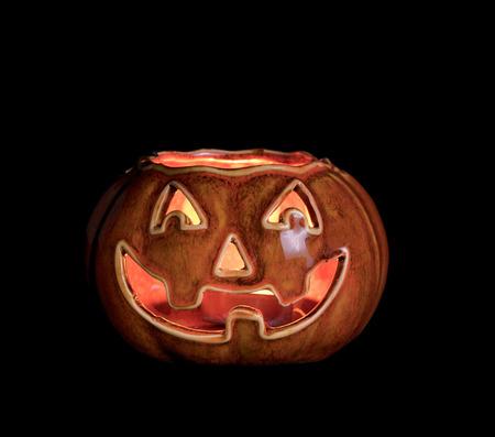Glowing pumpkin decoration isolated black Banco de Imagens