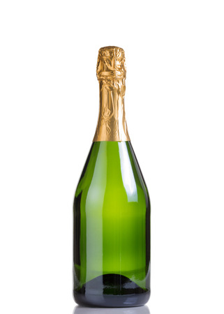 Champagne bottle isolated on white with reflection Stockfoto