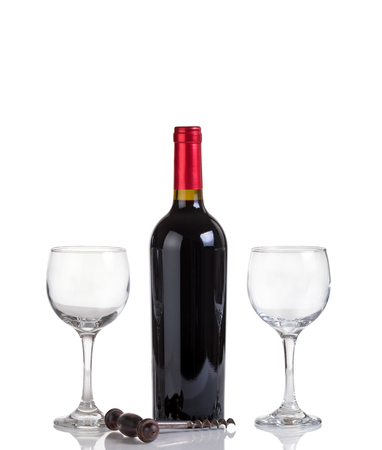 unopen: Red wine bottle and drinking glasses isolated on white with reflection