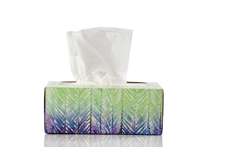 Box of tissues isolated on white background with reflection Stock fotó