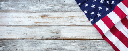 United States flag on white rustic wooden background with plenty of copy space 스톡 콘텐츠