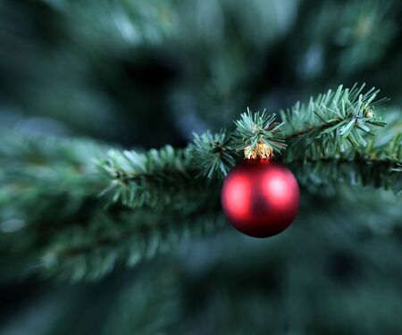 Traditional single Christmas ornament hanging on artificial tree