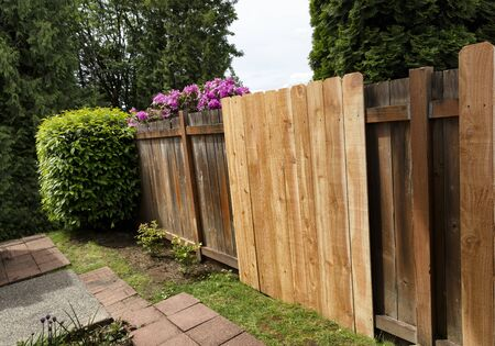 New cedar fence boards being installed against old existing ones
