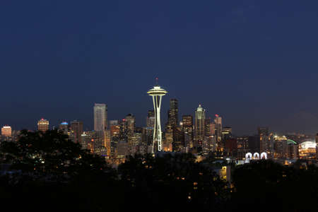Twilight Skyline of Seattle Washington in Summer time