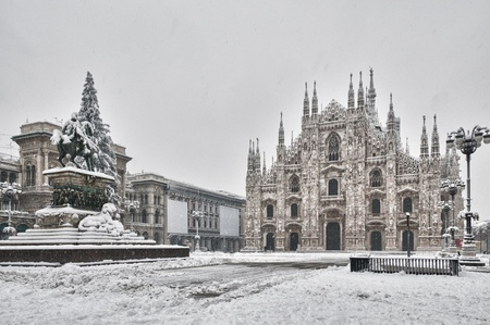 The public square Dome of Milan with the snow. Stock Photo