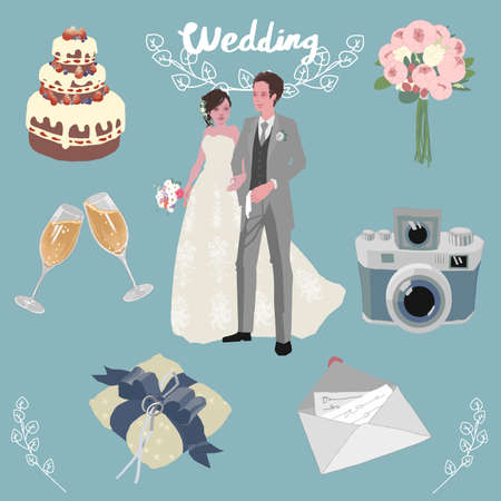 An assortment of hand-drawn illustrations related to weddings and receptions was vectorized. Illustration