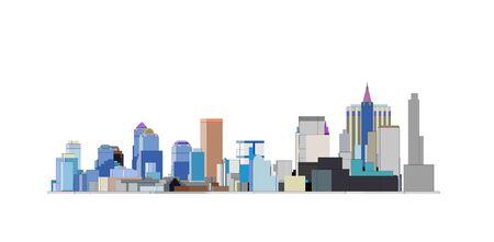 colorfull Big city skyline in Black backfround