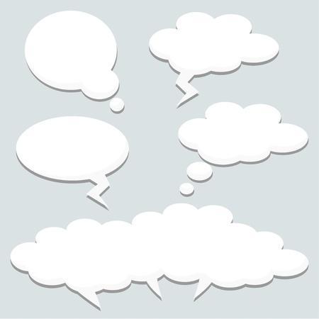 Les bulles de pensée de la parole, des nuages, illustration