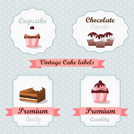 pastries: Cute vintage retro food labels with cakes and cupcakes
