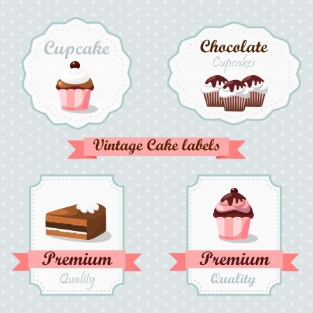 Leuke vintage retro voedseletiketten met taarten en cupcakes Stock Illustratie