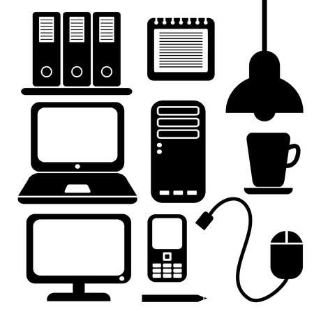 office icons, black silhouettes Stock Vector - 18710955
