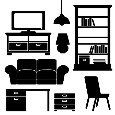nábytek ikony, černé siluety