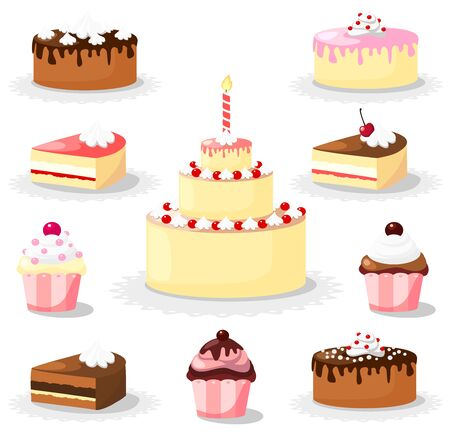 Sweet cake and cupcake set, icons Stock Vector - 18711047