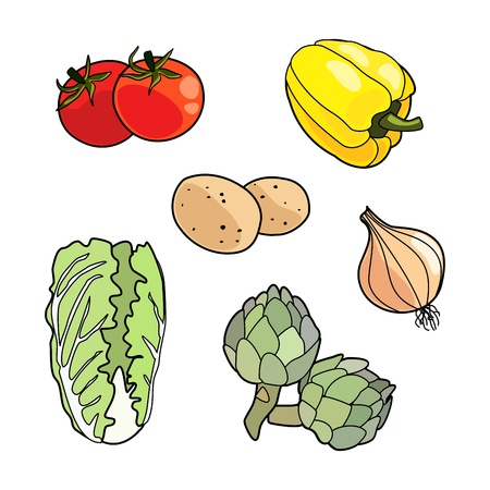 Isolated vegetables, vegetarian set Stock Vector - 18711036
