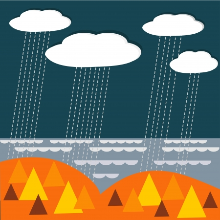 Vector landscape bacground with rainy clouds, wood and sea Stock Vector - 18711044