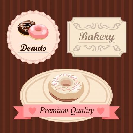 Leuke vintage retro voedsel badges en labels met donuts, vectorillustratie