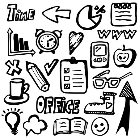 Hand drawn office business icons Vector