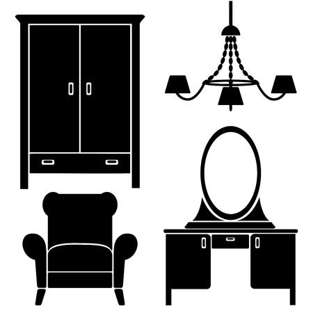 kleedkamer: meubelen pictogrammen, slaapkamer set Stock Illustratie