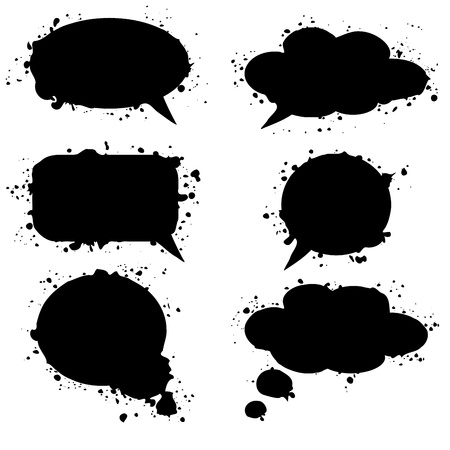 Black grunge thought bubbles, clouds, vector illustration Stock Vector - 18711048