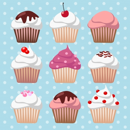 birthday cupcakes: Cute cupcake muffin vector set Illustration