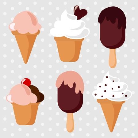 Ice cream sundae seamless pattern, retro set, vector illustration background  Illustration
