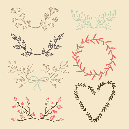 Set of isolated hand drawn floral graphic elements, laurels and wreath, vector illustration  Illustration