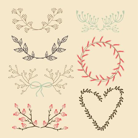 Set von isolierten Hand gezeichnet floral Grafikelemente, Lorbeer und Kranz, Vektor-Illustration