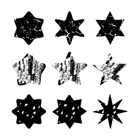 Set of black hand drawn isolated stars, different textures, vector objects Illustration